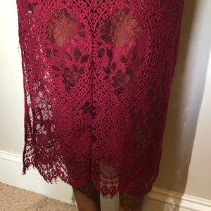 Skirts - HIGH WAISTED RED LACE SKIRT